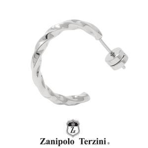 ザニポロタルツィーニ ツイスト フープピアス ステンレス ZTE3629SUS (直径2cm) Zanipolo Terzini メンズ サージカルステンレス 1点売り 片耳用 [ZT]|rismtown-y
