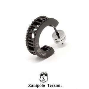 Zanipolo Terzini フープピアス ブラック ZTE3632BK ザニポロタルツィーニ ステンレス ローマ数字 1点売り 片耳用 [ZT]|rismtown-y