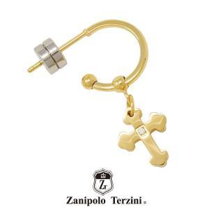 ザニポロタルツィーニ フープ クロスピアス ステンレス ZTE3635YG (カラー:イエローゴールド) Zanipolo Terzini メンズ 金属アレルギー対応 1点売り [ZT]|rismtown-y