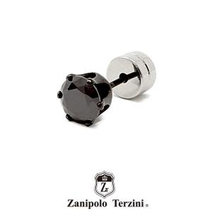 Zanipolo Terzini スタッド ストーンピアス ブラック ZTE3646 BK/BK ザニポロタルツィーニ ステンレス 1点売り 片耳用 [ZT]|rismtown-y
