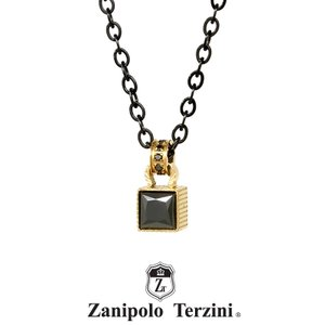 Zanipolo Terzini ステンレス ストーンネックレス ブラックxゴールド ZTP3709YGBK ザニポロタルツィーニ [ZT]|rismtown-y