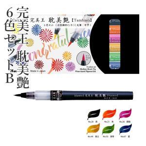 筆ペン 呉竹 完美王 耽美艶 6色セットB|rissei