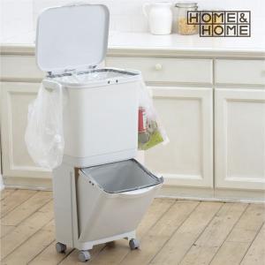 ゴミ箱 縦型  45L 分別 2分別 キャスター付き キッチンの写真