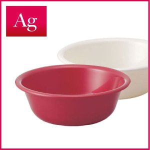 AG 湯桶 洗面器  抗菌 ホワイト レッド|risu-onlineshop