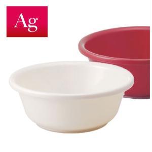 AG 湯桶 洗面器 抗菌 脚ゴム付 ホワイト レッド|risu-onlineshop
