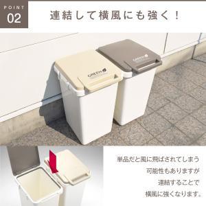 ゴミ箱 45L フタ付き 分別 シンプル おしゃれ 定番 角型 ナチュラル 2個セット(キッチン 台所 屋外 連結 ベランダ ) risu-onlineshop 06