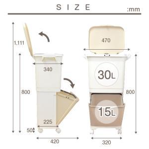 ゴミ箱 キッチン 45L フ縦型 蓋付き フタ キャスター付 スリム 2段 分別 2分類 隙間|risu-onlineshop|07