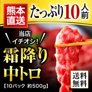 本日 先着6%オフ クーポン有 馬刺し 熊本 中トロ 霜降り 500g 約50g×10パック 約10...
