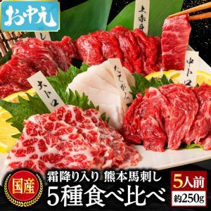 馬刺し 熊本 国産 5種食べ比べセット 約300g 約6人前 馬肉 馬刺 送料無料 ギフト 肉 食べ物 おつまみ 馬刺