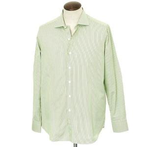 フィナモレ Finamore ホリゾンタルカラー ストライプ ドレスシャツ モスグリーン×ホワイト 43|ritagliolibro