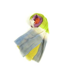 トゥモローランド TOMORROWLAND ボーダー コットン ストール パープル×ピンク×ライトグリーン − ritagliolibro
