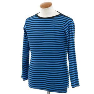 ルトロワ Letroyes ボーダー柄 ボートネック 長袖Tシャツ カットソー ブルー×ブラック M ritagliolibro