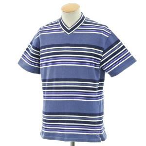 デザインワークス DESIGNWORKS ボーダー Vネック 半袖Tシャツ ブルー×パープル系 S ritagliolibro