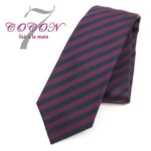ココン COCON ストライプ柄ネクタイ 紺×赤紫 PUP|ritagliolibro