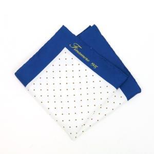 フィナモレ Finamore ポケットチーフ ブルー×ホワイト×ブラウン ritagliolibro