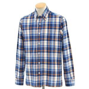 サルヴァトーレ ピッコロ Salvatore Piccolo コットンリネン チェック BDシャツ グリーンブルー×オレンジ×ホワイト S|ritagliolibro
