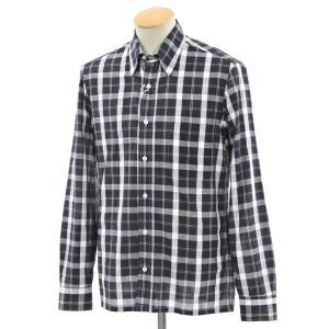 サルヴァトーレ ピッコロ Salvatore Piccolo カジュアルシャツ チャコールグレー×ホワイト×ブラウン S|ritagliolibro