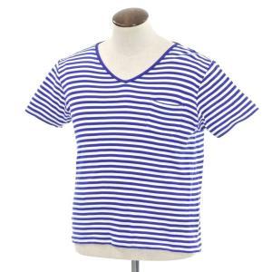ルトロワ Letroyes Vネック ボーダー 半袖Tシャツ ダークブルー×ホワイト L|ritagliolibro