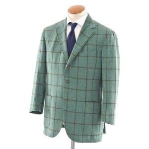 デペトリロ DE PETRILLO ウール チェック 3Bジャケット グリーン×ブラウン 50|ritagliolibro