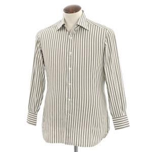 イザイア ISAIA ストライプ セミワイドカラーシャツ カーキ×アッシュブラウン×ホワイト 41|ritagliolibro