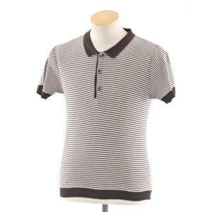 ルトロワ Letroyes ハイゲージコットン ボーダー 半袖ニットポロシャツ ブラウン×ホワイト S|ritagliolibro