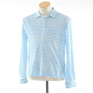 マッシモアルバ massimo alba ボーダー リネン 長袖ニットポロシャツ ライトブルー×ホワイト XS|ritagliolibro