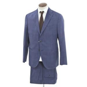 ボリオリ BOGLIOLI K.JACKET チェック ウール 3つボタンスーツ ブルー×ネイビー 52|ritagliolibro