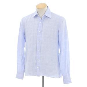 マリアサンタンジェロ Maria Santangelo チェック リネン カジュアルシャツ ライトブルー×ホワイト S|ritagliolibro