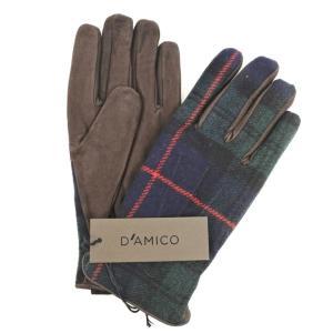 アンドレア ダミコ Andrea DAMICO ウール×レザー チェック グローブ 手袋 グリーン×ネイビー×レッド×ブラウン S|ritagliolibro
