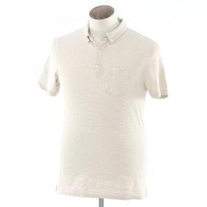 バナナリパブリック BANANA REPUBLIC ボーダー 半袖ポロシャツ ベージュ×ホワイト L ritagliolibro