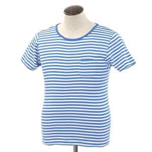 ルトロワ Letroyes ボーダー ポケット 半袖Tシャツ スモークライトブルー×ホワイト L ritagliolibro