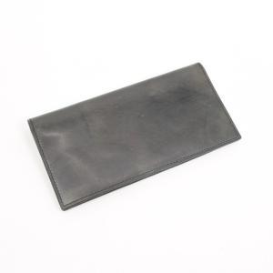ガンゾ GANZO レザー 2つ折り 長財布 ダークグレー×ブラウン|ritagliolibro