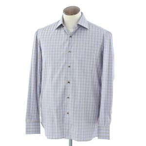 イザイア ISAIA チェック セミワイドカラーシャツ ブラウン×ライトブルー系 39|ritagliolibro