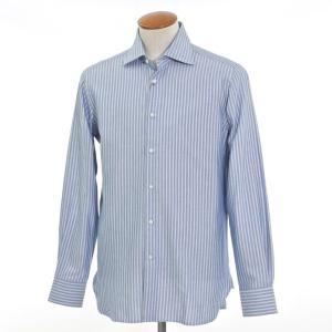 ギローバー GUY ROVER ストライプ ワイドカラー ドレスシャツ ライトネイビー×ライトブルー 40|ritagliolibro