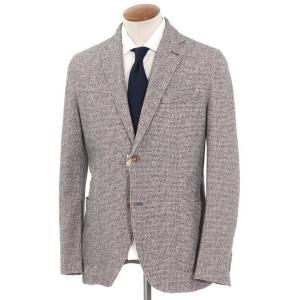 チルコロ1901 CIRCOLO 1901 2つボタン コットン ジャージージャケット ブラウン×サックス×ホワイト 48|ritagliolibro
