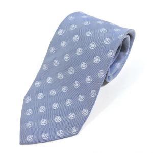 チェーザレ アットリーニ Cesare Attolini 小紋柄 3つ折り シルク ネクタイ ブルー×サックス|ritagliolibro
