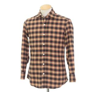 サルヴァトーレ ピッコロ Salvatore Piccolo チェック ワイドカラー ネルシャツ オレンジブラウン×ダークネイビー 37|ritagliolibro