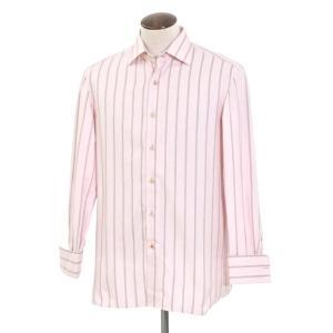 イザイア ISAIA ストライプ セミワイドカラー ドレスシャツ ライトピンク×グレー 41|ritagliolibro