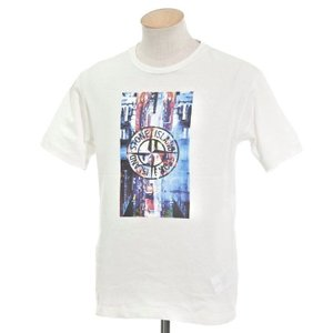 ストーンアイランド STONE ISLAND プリント クルーネック 半袖Tシャツ ホワイト S|ritagliolibro