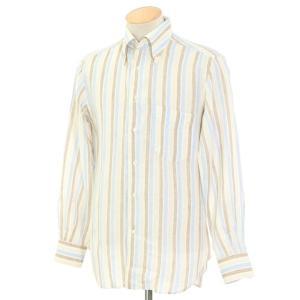 オリアン ORIAN ストライプ リネン BDシャツ ブラウン×ブルー×ホワイト×ベージュ系 S|ritagliolibro