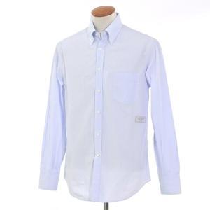 ブルネロ クチネリ BRUNELLO CUCINELLI ストライプ柄 コットン ボタンダウンシャツ ホワイト×ブルー M|ritagliolibro