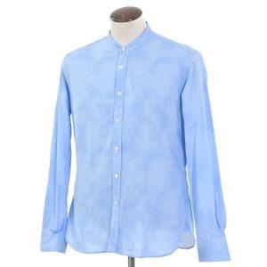 グランシャツ Glanshirt コットン×リネン バンドカラー シャツ ライトブルー 43|ritagliolibro