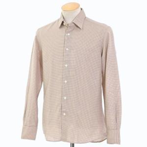 グランシャツ Glanshirt コットン カジュアルシャツ ダークブルー×オレンジ×ホワイト 38|ritagliolibro