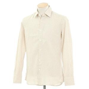 グランシャツ Glanshirt コットン チェック セミワイドカラーシャツ アイボリー×ブルー×オレンジ 38|ritagliolibro
