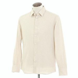 グランシャツ Glanshirt コットン チェック セミワイドカラーシャツ アイボリー×ブルー×オレンジ 42|ritagliolibro