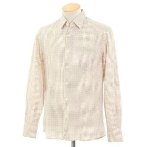 グランシャツ Glanshirt コットン チェック セミワイドカラーシャツ アイボリー×レッド×ダークブルー 38|ritagliolibro