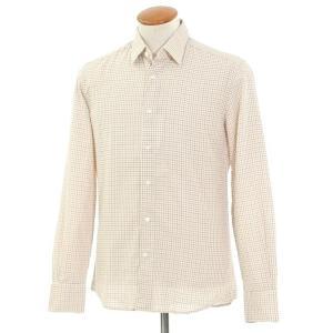 グランシャツ Glanshirt コットン チェック セミワイドカラーシャツ アイボリー×レッド×ダークブルー 39|ritagliolibro