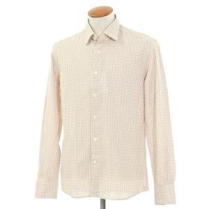 グランシャツ Glanshirt コットン チェック セミワイドカラーシャツ アイボリー×レッド×ダークブルー 40|ritagliolibro