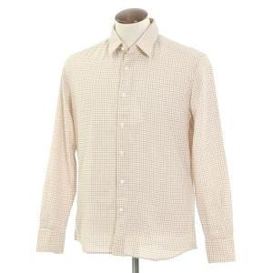 グランシャツ Glanshirt コットン チェック セミワイドカラーシャツ アイボリー×レッド×ダークブルー 42|ritagliolibro