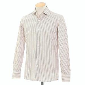 グランシャツ Glanshirt コットン ストライプ セミワイドカラーシャツ ホワイト×ダークブルー×オレンジ 37|ritagliolibro